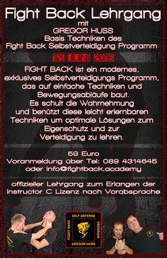 effektive , realistische Selbstverteidigung durch das FIGHT BACK Programm jeden Mittwoch und Freitag 18-20 Uhr leicht zu erlernen - geeignet ab 13 Jahre