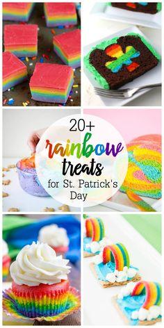 20 Rainbow Treats for St. Patrick's Day Lucky Charms Treats, Rainbow Treats, St Patrick Day Treats, St Patricks Day Food, Holiday Snacks, Holiday Ideas, Rice Crispy Treats, Party Treats, Cooking With Kids