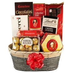 Chocolate gift baskets are a great way to send numerous chocolate gifts in one sweet chocolate basket! Deliver one to your favorite chocolate lovers! Chocolate Basket, Lindt Chocolate, Chocolate Gifts, Chocolate Lovers, Christmas Gift Baskets, Christmas Gifts, Christmas Holidays, Top Chocolate Brands, Valentine Day Gifts