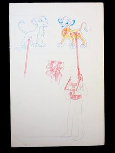 This artwork was used internally at Disney for the development of the Legend of the Lion King show that ran at Walt Disney World from 1994 to 2002 Color copies of the original colored pencil design artwork was affixed to foam core backing for use in development meetings, in studio, etc. while developing the show This piece features a puppet design for young Simba and Nala Artwork features puppeteer under stage harness rig, character inner body mechanics, and close-up character facial…