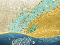 Troy Carney - Bubbles and Spirals gold and gold on hand cut bas-relief on wood. Japanese Woodcut, Hawaiian Art, Wave Art, Beginner Painting, Surf Art, Gold Art, Ocean Art, Art Google, Painting Inspiration