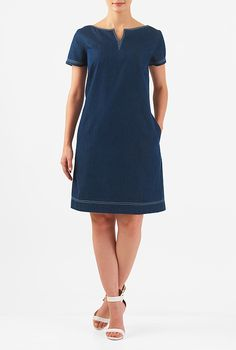 Buy women's dresses for this season at eShakti. Shop casual dresses, long or short dresses, and knit or woven cotton dresses to fit your size and style Shift Dress Outfit, Shift Dresses, Chic Outfits, Fashion Outfits, Women's Fashion, Short Sleeve Denim Dress, Event Dresses, Custom Dresses, Knee Length Dresses