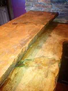 Beautifully designed concrete countertop. Acid stained and hand colored.