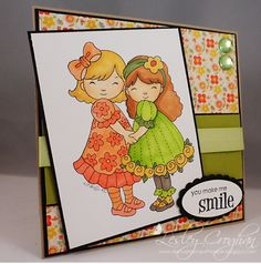 Card by Lesley for Whimsy and Stars Studio Stamps. Digital Stamp used: Best Friends http://www.etsy.com/listing/59645909/instant-dowload-digi-stamp-best-friends?ref=shop_home_active