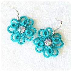 Turquoise Tatted Earrings Multilayered Tatted от LaceLounge