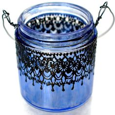 Small Hanging Candle Holder Inspired by Moroccan Lanterns, Blueberry Tinted  Glass With Black Accents