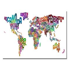 30 in. x 47 in. Typography World Map III Canvas Art