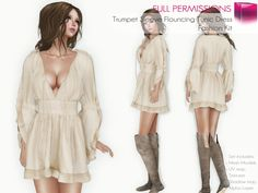 f5a79e52649 Full Perm Rigged Trumpett Sleeve Flouncing Tunic Dress - Fashion Kit Second  Life Avatar