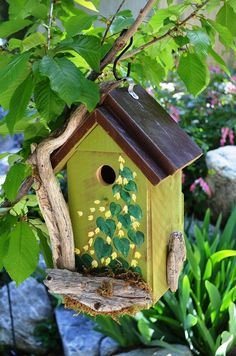 Birdhouse Rustic Driftwood Hand Painted Flowers Leaves Decorative Functional Bird House Outdoor Lawn Yard Garden Art Free Shipping via Etsy