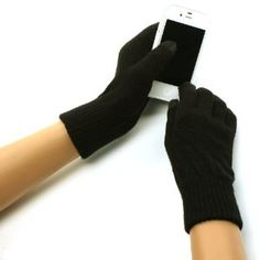 Ladies Winter Smart Tip Knit Magic Touch Screen Thumb Index Gloves Black S/M