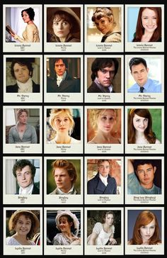 Film versions of Pride and Prejudice through the years.