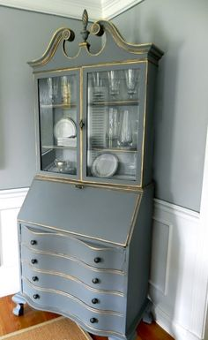 Grey painted antique secretary desk with pink interior for Chalk paint comparable to annie sloan