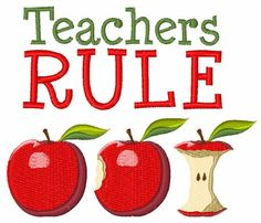 Teacher School Apple Fruit embroidery design- Available in 13 machine embroidery formats!