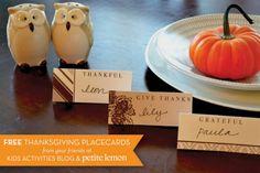 Thanksgiving Placecard Printables —designed by Petite Lemon, download via Kids Activities Blog