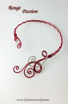 """parure """" Rouge Passion """" collier et bracelet aluminium"""