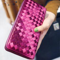 Brand Designer Wallet Women Woven Wallets Female Ladies Wallets Zipper Long Women Leather Clutch Purses Wallet Change Purse