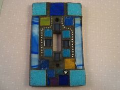 BLUE Mosaic Light Switch Plate Cover by victoriacharlotte on Etsy, $18.00