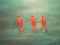 """Saatchi Art Artist Klaudija Cermak; Painting, """"Swimmers 2"""" #art"""