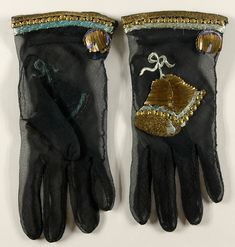 Gloves | House of Schiaparelli | Embroidered by Lesage | Paris | Fall 1939 | silk georgette, metallic thread, beads | Philadelphia Museum of Art | Accession #: 1969-232-65a,b