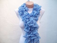 Blue Knit Scarf Winter Accessories Fall Fashion Frilly by nurlu