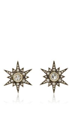A pair of diamond and silver starburst earrings, by Arman Sarkisyan.