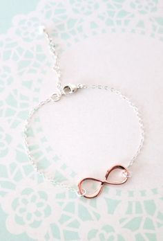 Infinity Bracelet Sterling Silver Chain Rose gold