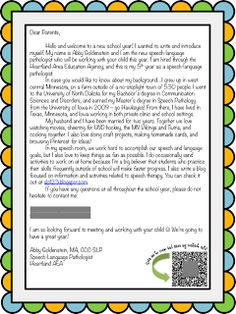 I love to write my introduction letter each year just tweak it back to school week slp introduction letter for parents spiritdancerdesigns Choice Image