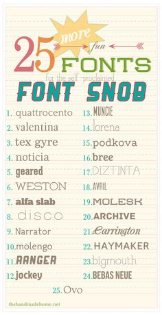 25 (more) fun #free #fonts for the self-proclaimed font snob | Quattrocento, Valentina, Tex Gyre, Noticia, Geared, Weston, Alfa Slab, Disco, Narrator, Molengo, Ranger, Jockey, Muncie, Lorena, Podkova, Bree, Diztinta, Avril, Molesk, Archive, Carrington, Haymaker, Bigmouth, Bebas Neue, Ovo