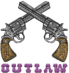 Crossed hand guns embroidery design