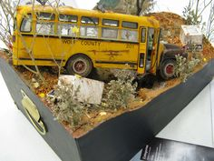 Junk school bus diorama