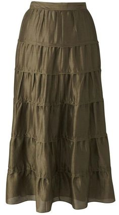 FABRICI Plus Sizes 18-30 Luxury Silk Linen Tiered SKIRT OLIVE Calf Length RRP£47