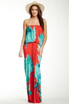 Gautier Flower Print Strapless Maxi Dress on HauteLook