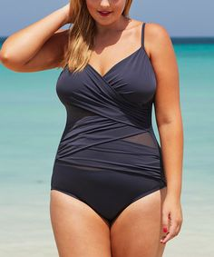 b3004eea580 Tropiculture Gray Squalo Mesh-Accent One-Piece - Plus Too