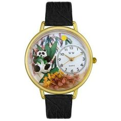 Whimsical Unisex PAnda Bear Black Skin Leather Watch