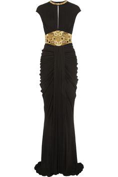Alexander Mcqueen Embellished Stretch-Jersey vestido de Negro | Lyst