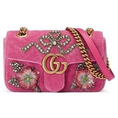 Women's Gucci Mini Gg Marmont Matelasse Velvet Shoulder Bag ($2,700) ❤ liked on Polyvore featuring bags, handbags, shoulder bags, raspberry, floral handbags, bow purse, purple handbags, sequin purse and floral shoulder bag
