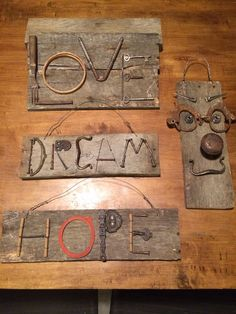 Junk art signs I made for my booth at the antique mall. Pallet Crafts, Metal Crafts, Wood Crafts, Key Crafts, Diy Cadeau, Found Object Art, Old Tools, Junk Art, Welding Art