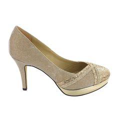 Zapato de tacón y plataforma en tono Piedra dorado. Elegante y cómodo, esencial para ocasiones de fiesta. Ref.6726 //Heel platform shoe in golden Stone. Comfortable and elegant, essential for party occasions. Ref.6726