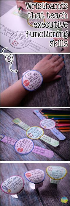 Practice executive functioning skills with these fun wristbands! Teach skills including planning organization self-control time management attention flexibility and more! Elementary School Counseling, School Social Work, Elementary Schools, School Counselor, Counseling Activities, Therapy Activities, Career Counseling, Calming Activities, Therapy Ideas