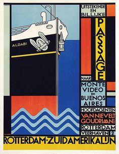 Poster by Willem H. Gispen - Rotterdam-Zuidamerikalijn Van Nievelt Goudriaan &  Co. Stoomvaart Maatschappij, 1923