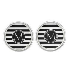 Elegant Monogram Striped Cufflinks
