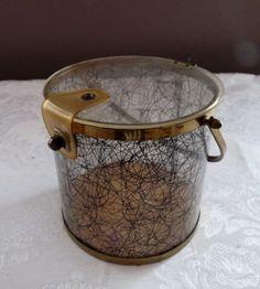 Vintage Clear Lucite Black Thread Gold Specks Round Purse Brass Metal   eBay