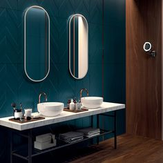 The distinctive three dimensional aesthetic appeals of the Series enhances the tactile and visual experience of the holistic design. Home Room Design, Decor Interior Design, Interior Decorating, House Rooms, Wall Tiles, Home Goods, Mirror, Home Decor, Bathroom Designs