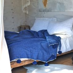 Cerulean Blue Moroccan Blanket with Pom Poms