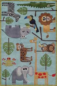 Forest critters, retro robots and mod flowers, oh my! Quirky motifs combine to put Lil Mo Whimsy in a class by itself. Hand-tufted of soft mod-acrylic, this collection features hand-carving for added texture and a vibrant color palette to make it as fun as it is unique. Save 45%    http://www.rugs-direct.com/ShopDetail/Details/163086/Momeni/LilMoWhimsy/LMJ19/Blue#?source=sp-pinterest