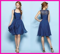 2015 New Dark Navy Square Neck Knee Length Cheap Bridesmaid Dresses Sleeveless Lace Back Knee length Party Gowns Cheap Fashion A-line Empire Custom Hot Sale Dress Prom Dress 2014, Prom Party Dresses, Party Gowns, Homecoming Dresses, Dress Party, Dresses 2014, Modest Bridesmaid Dresses, Modest Dresses, Formal Dresses