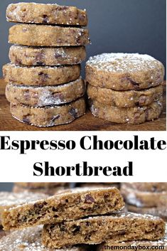 Espresso Chocolate Shortbread Cookies are melt-in-your-mouth buttery shortbread made even better with added espresso and chocolate! Cookie Desserts, Just Desserts, Cookie Recipes, Cookie Cups, Cookie Ideas, Keto Recipes, Chocolate Shortbread Cookies, Shortbread Recipes, Espresso Cookies Recipe