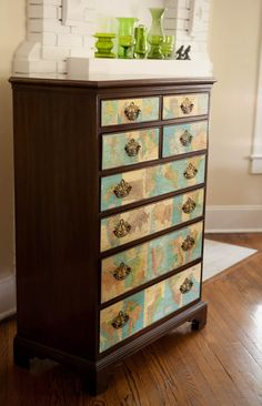 decoupage maps to drawer fronts
