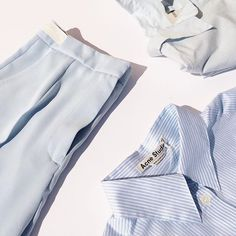 Baby blue new arrivals are looking so fresh. #mm6 #margiela #acnestudios #humanoid #kickpleat #pastels #colorinspiration