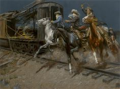 """Andy Thomas Artist Hand Signed Limited Edition Giclee:""""Sundance and the Wild Bunch Hit the Union Pacific"""" Friedrich Wilhelm I, The Wild Bunch, Sundance Kid, West Art, American Frontier, Cowboys And Indians, Cowboy Art, Country Art, Country Life"""